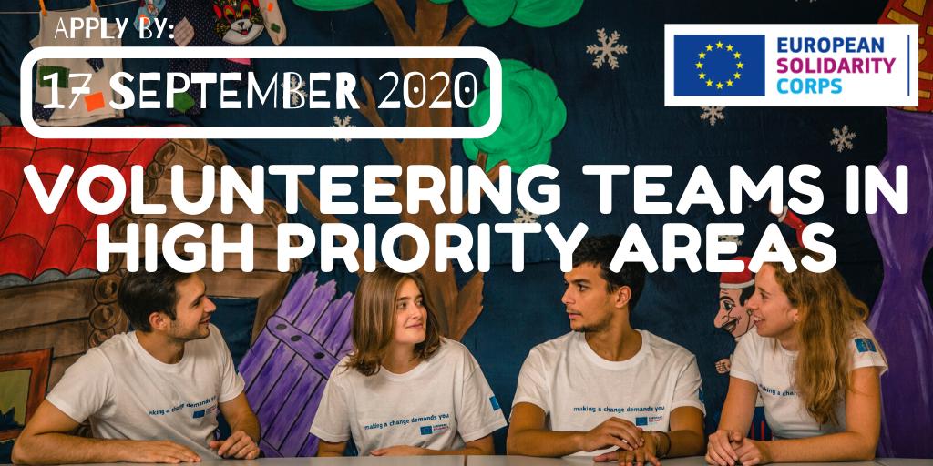 Natječaj za Volonterske timove u područjima visokog prioriteta - rok 17.9.2020.